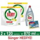 [gittigidiyor] Fairy Hepsi Bir Arada Bulaşık Makinesi Deterjanı Kapsülü 2 Adet 120'li Paket Toplam 240 Adet + 870ML Sıvı Fairy Platinum + Sünger Hediye 89,90TL - ÜCRETSİZ KARGO!