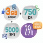 Woops 3GB İnternet + Her Yöne 750dk ve 5000 SMS 29TL