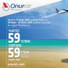 OnurAir Yurtiçi 59TL, Yurtdışı 59€'dan Başlayan Fiyatlarla Uçuşlar